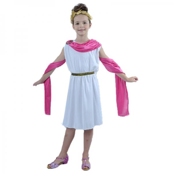 古代ローマ コスチューム 子供用 ワンピース+ヘッドピース+ウエストバンド+ショール 4点セット qx10148-2