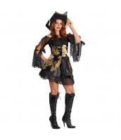 パイレーツ・オブ・カリビアン コスチューム ドレス女 黒 帽子+ベスト+ドレス+ペチコート 4点セット qx10151-8