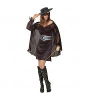 快傑ゾロ コスチューム 女 ドレス+マント+帽子+アイマスク+ウエストバンド 5点セット qx10155-2