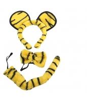 コスチューム 動物・アニマル 虎 大人/子供共通 カチューシャ+蝶ネクタイ+尻尾 3点セット qx10156-8