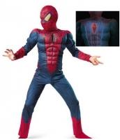 スパイダーマン コスチューム 胸発光 7-9歳児 ジャンプスーツ+マスク 2点セット qx10161-23