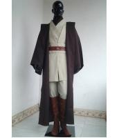 スターウォーズ StarWars オビ=ワン・ケノービ ジェダイ(Jedi)の騎士 フードマント ローブ、上着、ズボン、ベルト、ブーツカバー 豪華超お得セット ハロウィン 仮装 衣装 stw0004-2